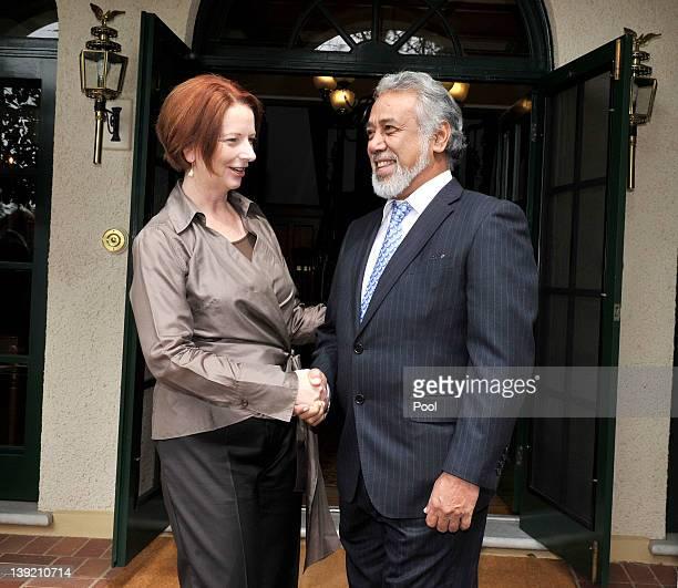 Australian Prime Minister Julia Gillard greets East Timorese Prime Minister Xanana Gusmao at the Lodge on February 18 2012 in Canberra Australia Mr...