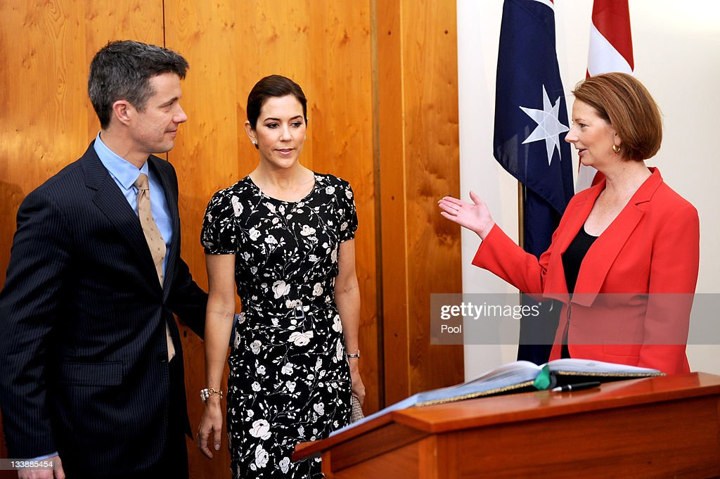 Australian Prime Minister Julia Gillard (R) greets Prince Frederik of Denmark and Princess Mary on their arrival at Parliament House on November 22, 2011 in Canberra, Australia. Princess Mary and Prince Frederik are on their first official visit to Australia since 2008. The Royal visit begins in Sydney, before heading to Melbourne, Canberra and Broken Hill.