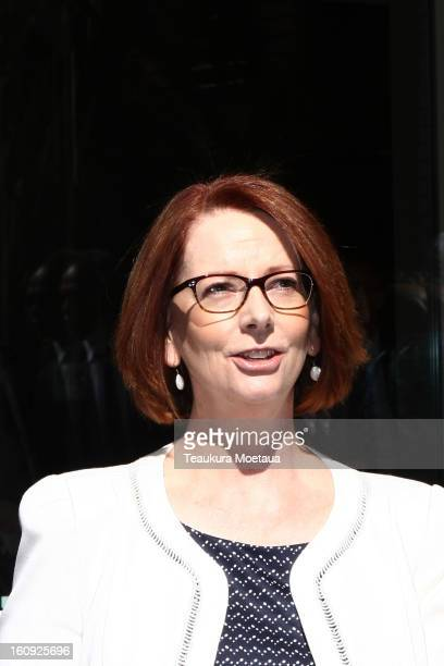 Australian Prime Minister Julia Gillard makes her way to a media conference at Hilton Hotel on February 8 2013 in Queenstown New Zealand The annual...