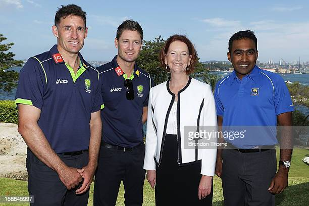Australian Prime Minister Julia Gillard poses with Michael Hussey and Michael Clarke of Australia and Mahela Jayawardene of Sri Lanka during a...