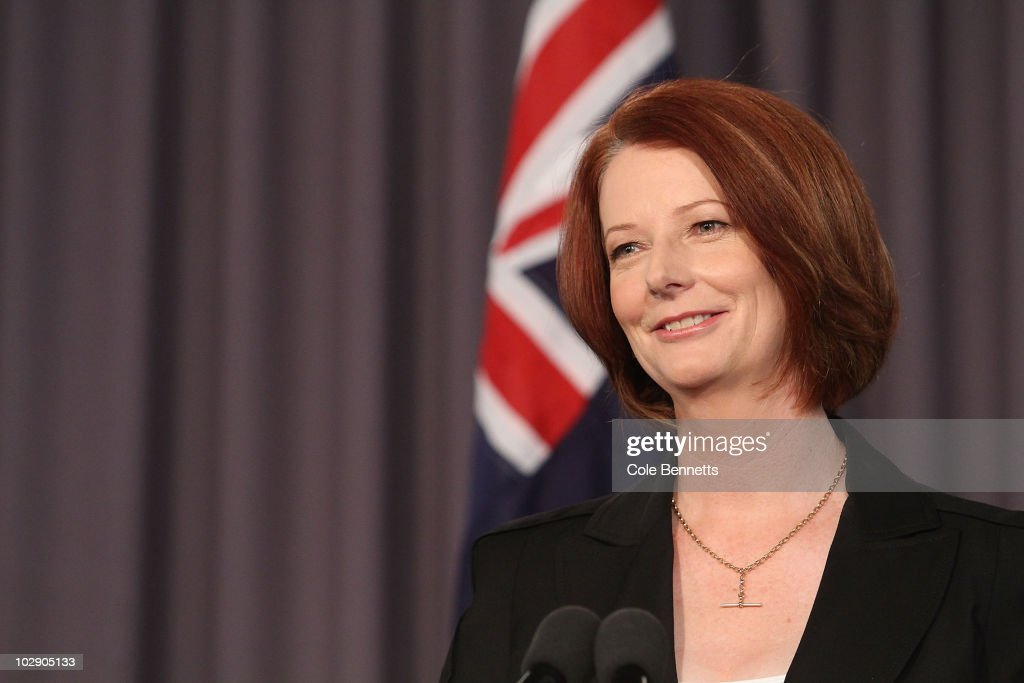 Australian Prime Minister Julia Gillard smiles during an address at the National Press Club on July 15, 2010 in Canberra, Australia. Speaking at the National Press Club as Prime Minister for the first time, Gillard stated that there will not be an 'old-style, spend-up-big campaign' in the upcoming election, which is speculated to take place in late August.