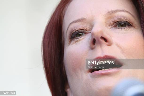 Australian Prime Minister Julia Gillard speaks during a press conference in the Prime Minister's courtyard at Parliament House on July 17 2010 in...