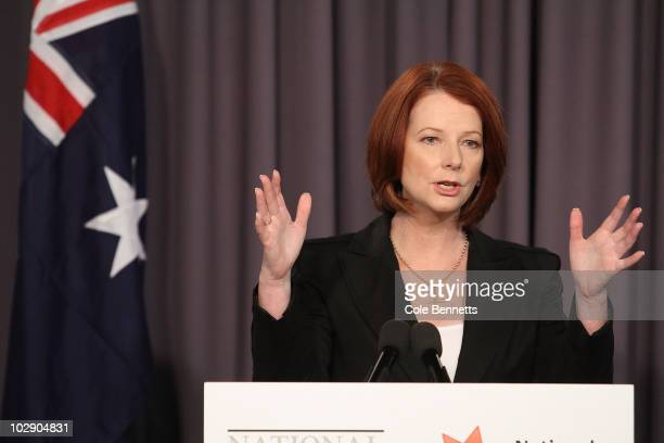 Australian Prime Minister Julia Gillard speaks during an address at the National Press Club on July 15 2010 in Canberra Australia Speaking at the...