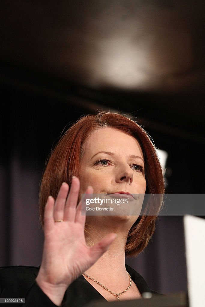 Australian Prime Minister Julia Gillard speaks during an address at the National Press Club on July 15, 2010 in Canberra, Australia. Speaking at the National Press Club as Prime Minister for the first time, Gillard stated that there will not be an 'old-style, spend-up-big campaign' in the upcoming election, which is speculated to take place in late August.