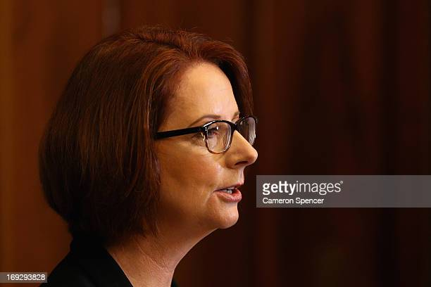 Australian Prime Minister Julia Gillard speaks to media during a press conference on May 23 2013 in Sydney Australia Ford Australia today announced...