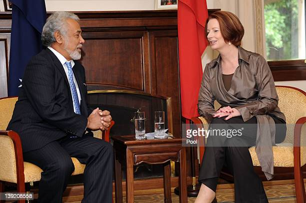 Australian Prime Minister Julia Gillard speaks with East Timorese Prime Minister Xanana Gusmao at the Lodge on February 18 2012 in Canberra Australia...