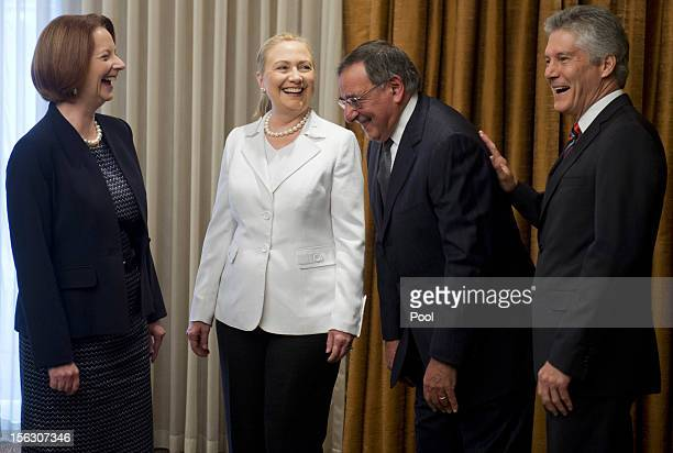 Australian Prime Minister Julia Gillard, US Secretary of State Hillary Clinton, US Secretary of Defense Leon Panetta and Australian Minister for...