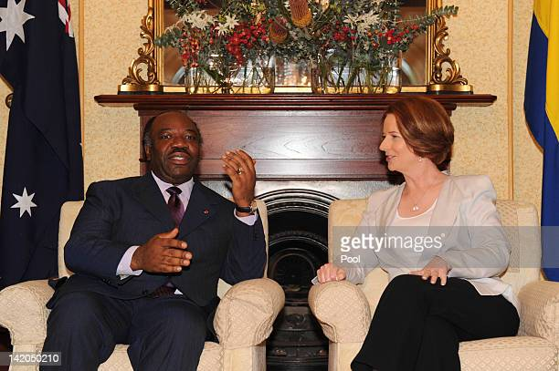 Australian Prime Minister Julia Gillard welcomes His Excellency Ali Bongo Ondimba President of the Gabonese Republic to Kirribilli House on March 29...