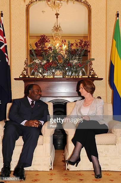 Australian Prime Minister Julia Gillard welcomes His Excellency Ali Bongo Ondimba President of the Gabonese Republic to Kirribilli House on March 29...