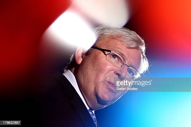 Australian Prime Minister, Kevin Rudd addresses union workers at West Tradies Club, on September 6, 2013 in Sydney, Australia. Kevin Rudd addressed...