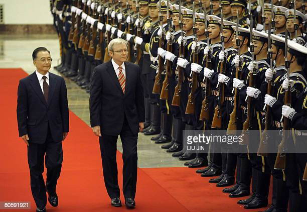 Australian Prime Minister Kevin Rudd and Chinese Premier Wen Jiabao inspect a guardofhonour during a welcoming ceremony at the Great Hall of the...