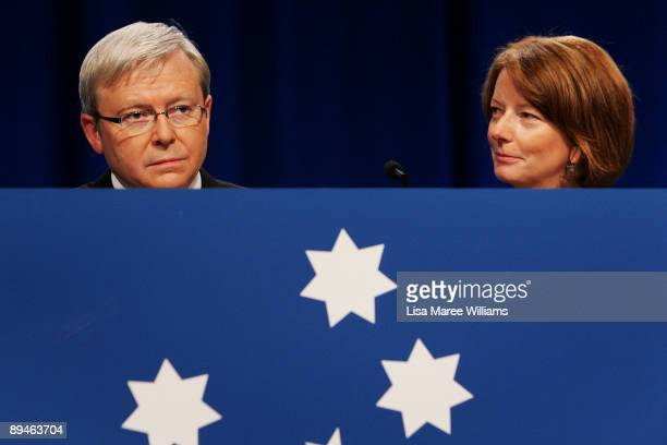 Australian Prime Minister Kevin Rudd and Deputy Prime Minister Julia Gillard arrive at the 45th National Labor Conference on July 30 2009 in Sydney...