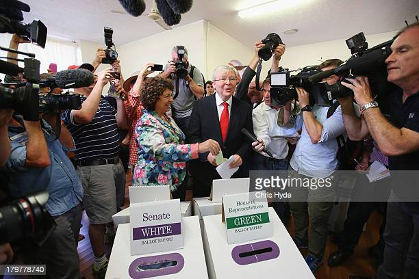 Australian Prime Minister Kevin Rudd and his wife Therese Rein vote at St Paul's Church in the seat of Griffith on September 7 2013 in Brisbane...