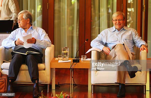 Australian Prime Minister Kevin Rudd and Secretary General Tuiloma Nerone Slade look on during the Pacific Islands Forum Leaders Retreat at Whitfield...