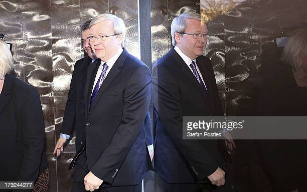 Australian Prime Minister Kevin Rudd arrives at the National Press Club on July 11, 2013 in Canberra, Australia. Rudd is speaking to the National...
