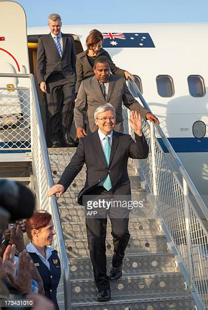 Australian Prime Minister Kevin Rudd arrives in Port Moresby on July 14 2013 Rudd is touring Papua New Guinea on a twoday visit and is expected to...