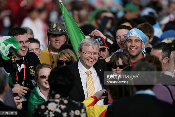 Australian Prime Minister Kevin Rudd attends The Holy Father Pope Benedict XVI address at the Papal Welcome Ceremony at Barangaroo on Sydney Harbour...