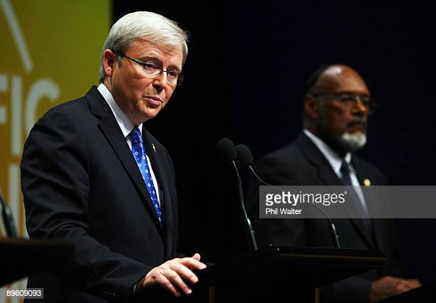Australian Prime Minister Kevin Rudd holds a joint press conference with Vanuatu Prime Minister Edward Npiake Natapei during the Pacific Islands...