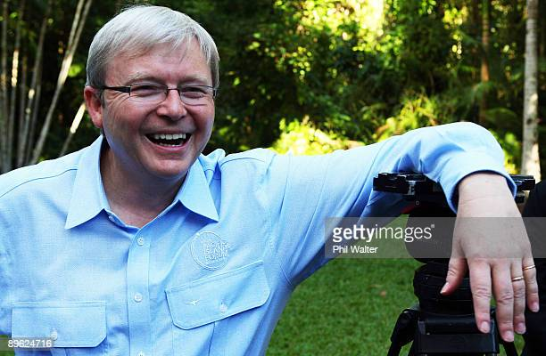 Australian Prime Minister Kevin Rudd laughs during the Pacific Islands Forum Leaders Retreat at Whitfield House on August 6 2009 in Cairns Australia...