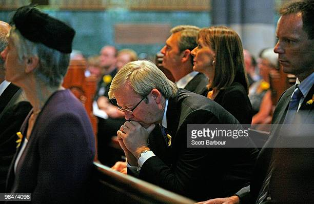 Australian Prime Minister Kevin Rudd looks down as he attends the Victorian Bushfires Remembrance Service at St. Paul's Cathedral on the one year...