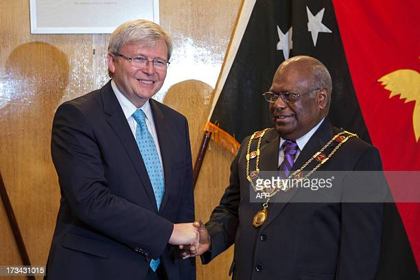 Australian Prime Minister Kevin Rudd meets PNG Governor General Michael Ogio at Government House after arriving in Port Moresby on July 14 2013 Rudd...