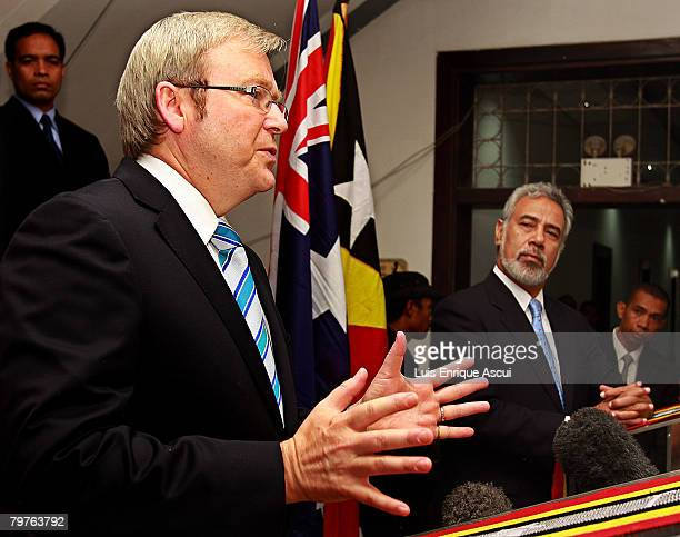 Australian Prime Minister Kevin Rudd meets with East Timor Prime Minister Xanana Gusmao at the Government Palace February 15 2008 in Dili East Timor...
