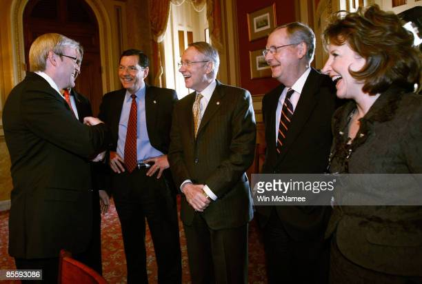 Australian Prime Minister Kevin Rudd meets with members of the US Senate Sen Judd Gregg Sen John Barrasso Senate Majority Leader Harry Reid Senate...