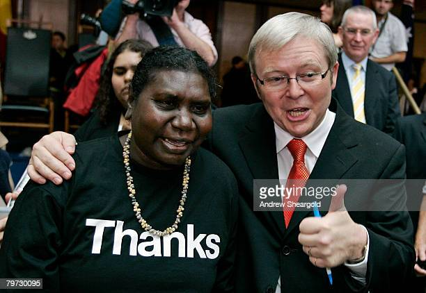 Australian Prime Minister Kevin Rudd meets with Raymattja Marika after delivering an apology to the Aboriginal people for injustices committed over...