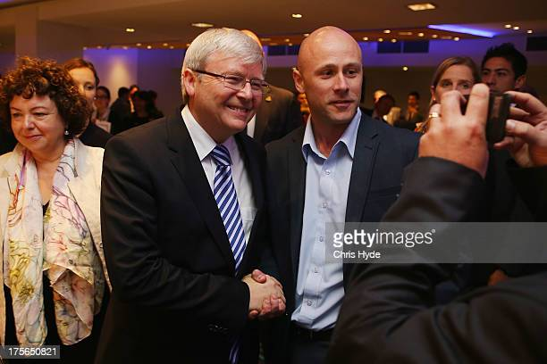Australian Prime Minister Kevin Rudd poses for a photo after a debate at the Colmslie Hotel on August 6, 2013 in Brisbane, Australia. On the second...