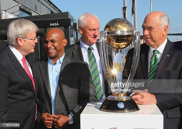 Australian Prime Minister Kevin Rudd Sanath Jayasuriya former captain of Sri Lanka and Ralph Waters Chairman ICC Cricket World Cup 2015 pose with the...