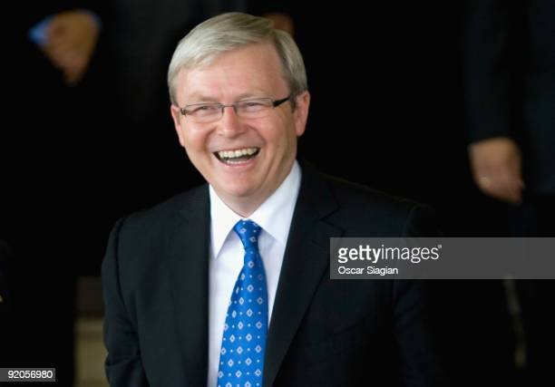 Australian Prime Minister Kevin Rudd smiles before going inside the building during the Inauguration ceremony for President Yudhoyono at the House of...