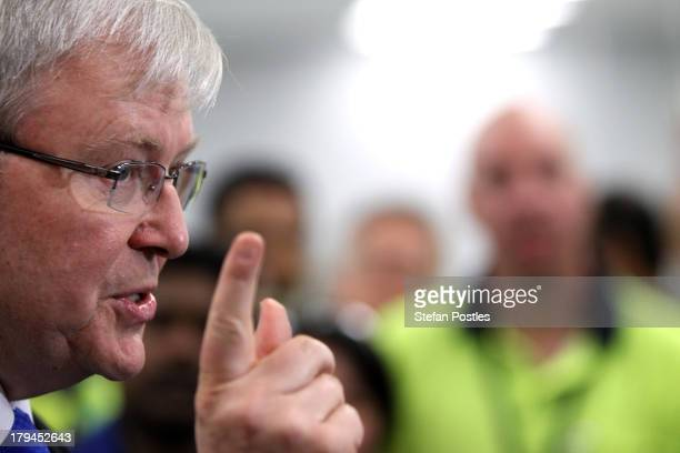 Australian Prime Minister, Kevin Rudd speak during a press conference at Corning Cable Systems on September 4, 2013 in Melbourne, Australia. Deloitte...