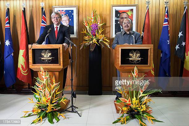 Australian Prime Minister Kevin Rudd speaks alongside Papua New Guinea's Prime Minister Peter O'Neill during a joint press conference in Port Moresby...