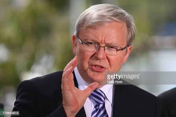Australian Prime Minister Kevin Rudd speaks during a media conference at the Botanic Gardens on August 6 2013 in Brisbane Australia Rudd joined...