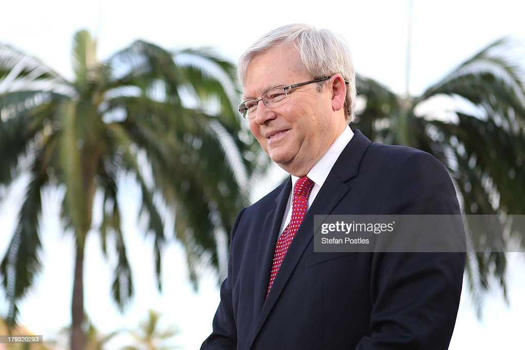 Australian Prime Minister, Kevin Rudd speaks during a television interview, on September 2, 2013 in Townsville, Australia. According to the News Limited Newspoll, the Coalition is up 8 points on Labor on a two-party preferred basis, with Tony Abbott surpassing Kevin Rudd in the poll as preferred Prime Minister 43 to 41 per cent. Australian voters will head to the polls on September 7 to elect the 44th parliament.