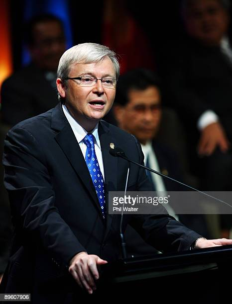 Australian Prime Minister Kevin Rudd speaks during the Opening Ceremony of the Pacific Islands Forum at the Cairns Convention Centre on August 4 2009...