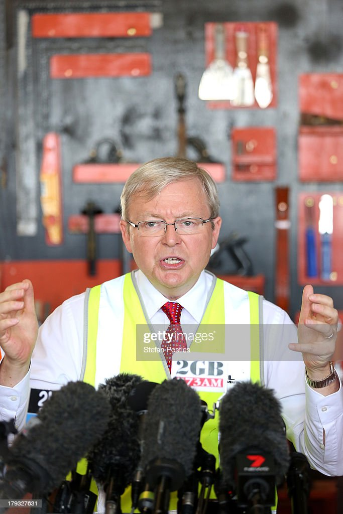 Australian Prime Minister, Kevin Rudd speaks to the media in a factory, on September 2, 2013 in Gladstone, Australia. According to the News Limited Newspoll, the Coalition is up 8 points on Labor on a two-party preferred basis, with Tony Abbott surpassing Kevin Rudd in the poll as preferred Prime Minister 43 to 41 per cent. Australian voters will head to the polls on September 7 to elect the 44th parliament.