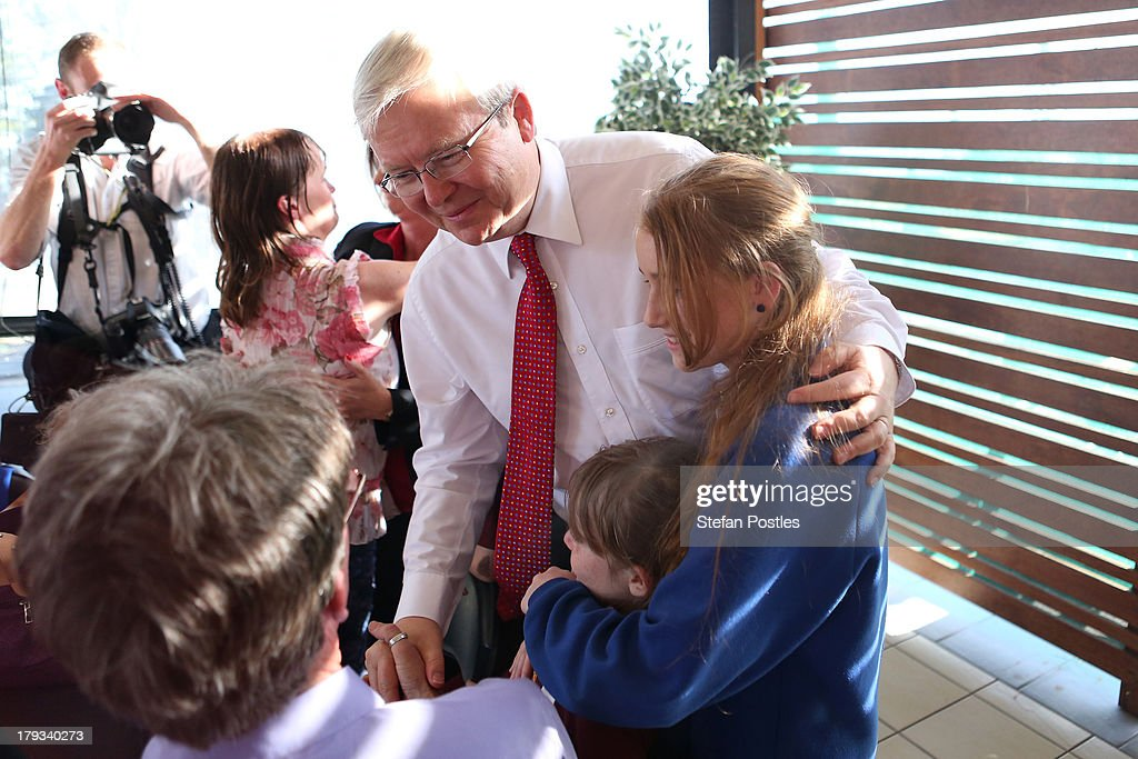 Australian Prime Minister, Kevin Rudd speaks to voters at Bramble Bay Bowls Club on September 2, 2013 in Woody Point, Australia. According to the News Limited Newspoll, the Coalition is up 8 points on Labor on a two-party preferred basis, with Tony Abbott surpassing Kevin Rudd in the poll as preferred Prime Minister 43 to 41 per cent. Australian voters will head to the polls on September 7 to elect the 44th parliament.