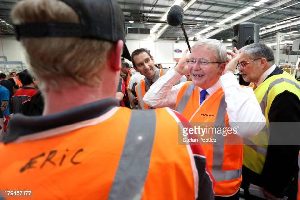 Australian Prime Minister, Kevin Rudd speaks to workers at Futuris factory on September 4, 2013 in Melbourne, Australia. With just three days of...
