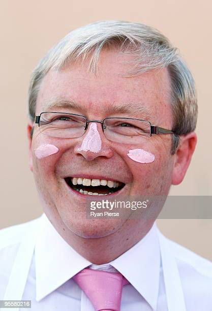 Australian Prime Minister Kevin Rudd wears pink zinc in support of the McGrath Foundation before day three of the Second Test match between Australia...