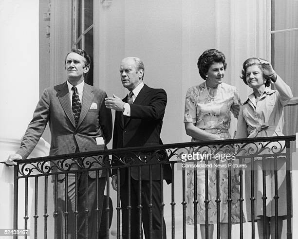Australian Prime Minister Malcolm Fraser and his wife Tammie with President Gerald Ford and Betty Ford on the South Portico of the White House during...