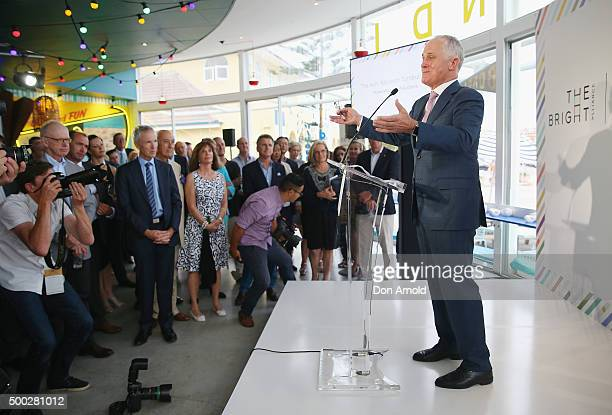 Australian Prime Minister Malcolm Turnbull addresses guests during the The Bright Alliance Cocktail Fundraiser at The Bucket List on December 7 2015...