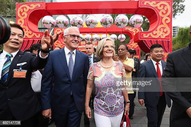 Australian Prime Minister Malcolm Turnbull and his wife Lucy arrive at the 2017 Chinese New Year Lantern Festival at Tumbalong Park on January 20...