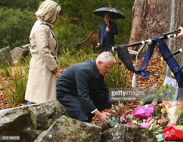 Australian Prime Minister Malcolm Turnbull and Lucy Turnbull lay a wreath during the 20th anniversary commemoration service of the Port Arthur...