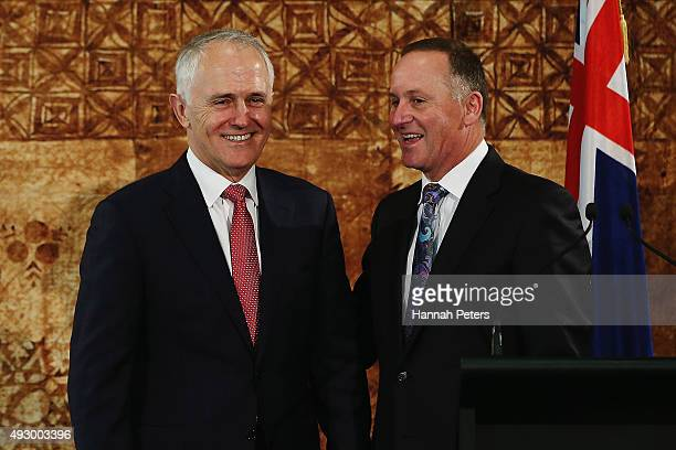 Australian Prime Minister Malcolm Turnbull and New Zealand Prime Minister John Key answer questions during a press confrence at Government House on...