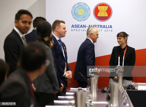 Australian Prime Minister Malcolm Turnbull arrives for an Emerging Leaders roundtable at The Association of Southeast Asian Nations ASEAN special...