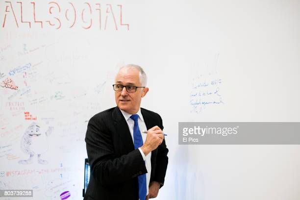 Australian Prime Minister Malcolm Turnbull attends the launch of AiMedia partnership with Facebook on June 30 2017 in Sydney Australia Captioning...
