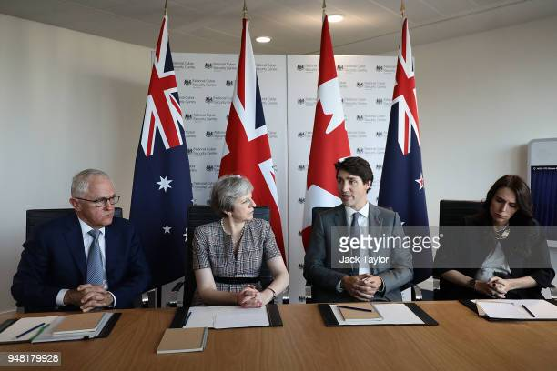 Australian Prime Minister Malcolm Turnbull British Prime Minister Theresa May Canadian Prime Minister Justin Trudeau and New Zealand Prime Minister...