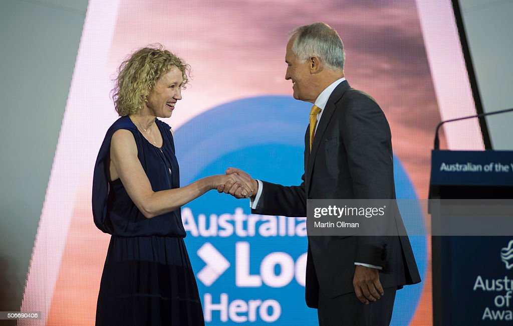 Australian Prime Minister Malcolm Turnbull congratulates 2016 Australias Local Hero Dr Catherine Keenan during the Australian of The Year Awards 2016 at Parliament House on January 25, 2016 in Canberra, Australia.
