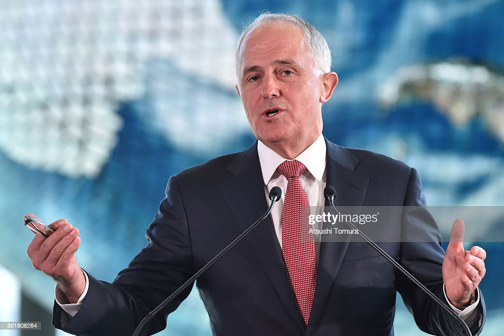 Australian Prime Minister Malcolm Turnbull delivers a speech at the National Museum of Emerging Science and Innovation on December 18, 2015 in Tokyo, Japan. Prime Minister Turnbull is on one-day itinerary for his first visit to Tokyo to discuss topics including whaling in the southern oceans and submarine contract, and broader political, strategic and economic issues.